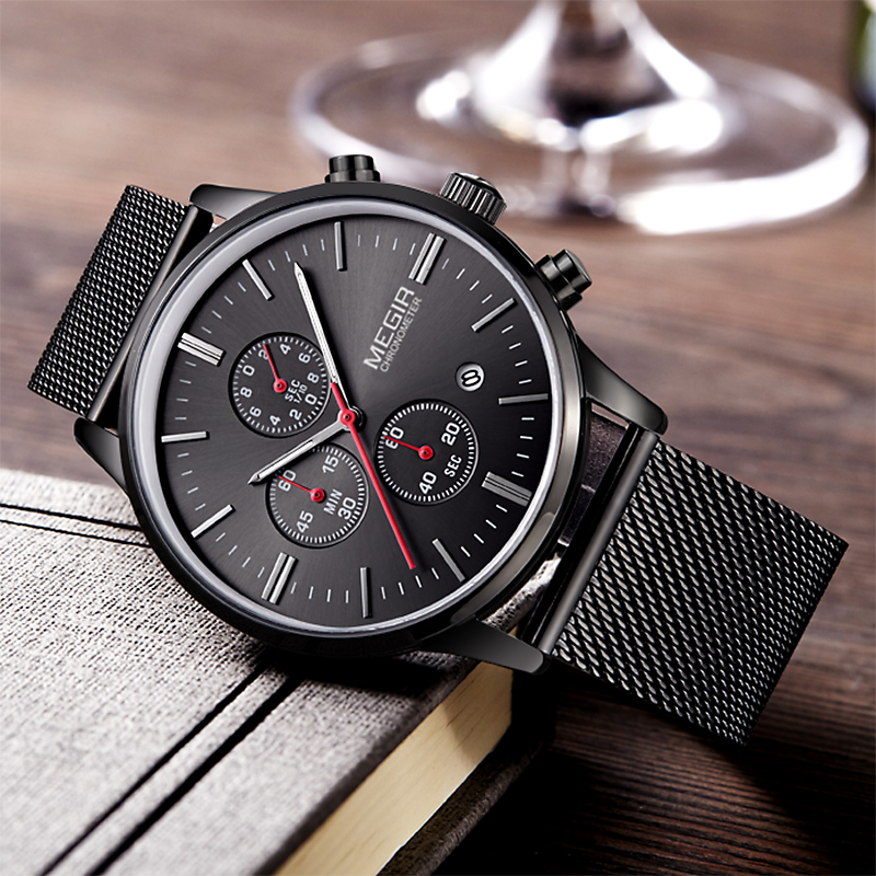 MEGIR Top Luxury brand Watches men Stainless Steel Mesh strap band Quartz-watch thin Dial Clock man Fashion simple stylish 2011 fashion simple style top luxury brand longbo watches men stainless steel wristwatches quartz watch big gold dial clock man watch