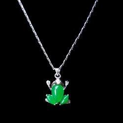 Doğal yeşil yeşim kurbağa kolye kolye takı moda aksesuarları el oyma erkek ahd kadın şanslar muska hediyeler