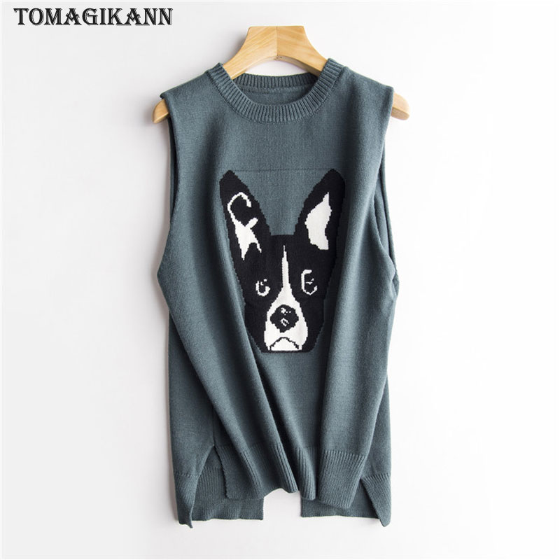 2018 Preppy Style Dog Pattern Women Pullovers Knitting Vests Spring Casual Split O Neck Sleeveless Sweaters Female Tops