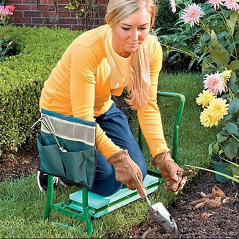 New Portable Garden Kneeler With Handles Folding Stainless Steel Garden Stool Chair With EVA Kneeling Pad Gardening Tool Supply#