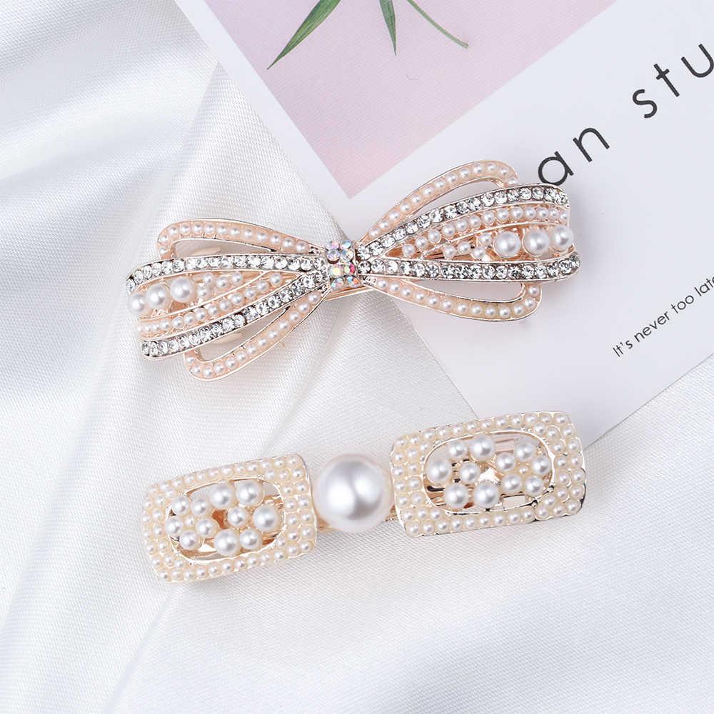 1PC Nette Mode Perle Haarnadel Frauen Kristall Haar Clip Floral Spange Mode BB Haar Zubehör Mädchen Tiara Krone Hairgrip
