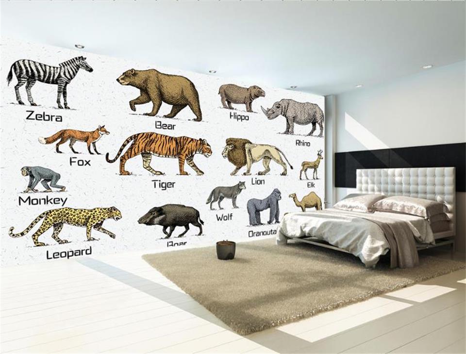 Пользовательские 3D фото обои детская комната исследование росписи зоопарки английского языка картина живопись диван ТВ фон нетканые стены...