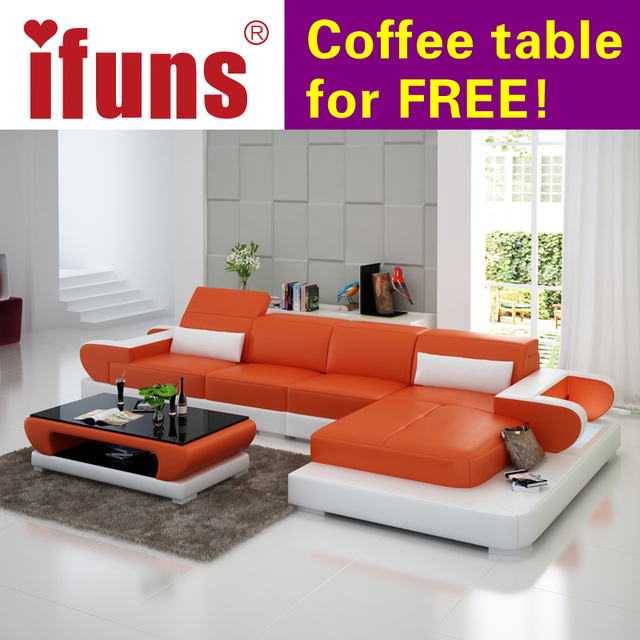 Ifuns Moden New Design Top Garin Leather L Shaped Storage Corner Sofa For Living Room Sofas