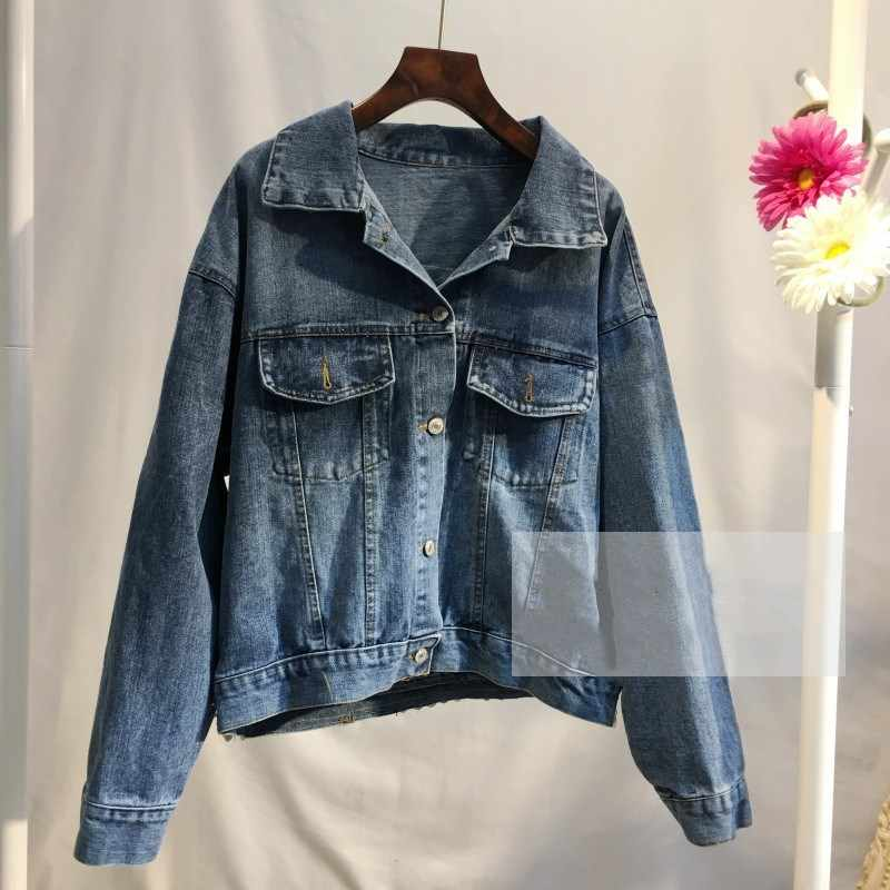 WHITNEY WANG 2019 ฤดูใบไม้ร่วงแฟชั่น Streetwear กลับเย็บปักถักร้อย Bohemian Patchwork Denim แจ็คเก็ตสตรี Jean Coat