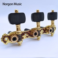 Alice Gold Plated Guitar Machine Heads Zinc alloy Rose Pattern Ebony Knob Classical Guitar Tuning Pegs AOS 028CWP
