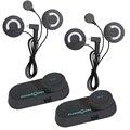 2 unids Motocicleta Casco Auricular Bluetooth Intercom para 3 Jinete 800 M Intercomunicadores de motos + Soft Auricular + FM radio