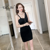 2018 Summer Solid Plus Size Bodycon Bandage Dress Women Black Sleeveless Spaghetti Strap Dress Sexy Office Casual Club Dresses
