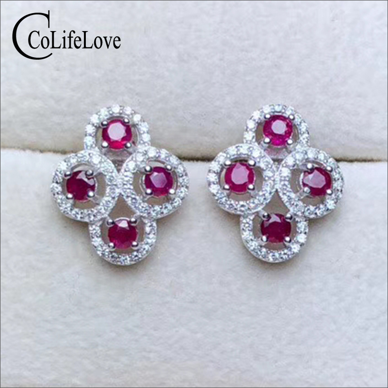 100% real natural ruby stud earrings for wedding 8 pcs Myanmar ruby silver stud earrings 925 sterling silver ruby fine jewelry chic artificial ruby square shape hollow out stud earrings for women
