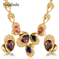 Nandudu Deluxe Colorful Crystals Necklace Earrings Rose Gold Plated Mesh Net Jewelry Set Fashion Jewelry Gift CN210