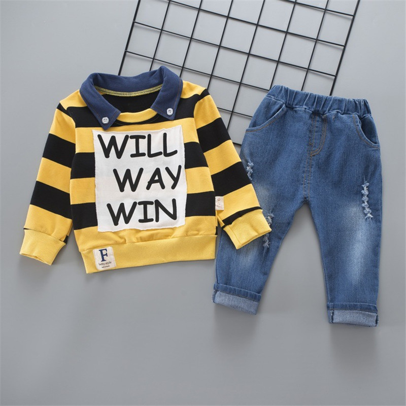 New Autumn Winter Baby Boy Cloth Set Long Sleeve Letter Printed Striped Tops Cloth + Cowboy Pants 2Pcs Clothes Outfits Set new 2014 autumn winter baby