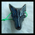 Natural Stone Handcarved Wolf Head Obsidian Necklace Pendant 25*18*8mm 3.3g Semiprecious Stone pendant wolf neckalce Bead