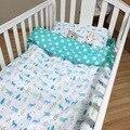 New chegou hot ins linho 3 pcs bebê algodão crib bedding bedding set incluem fronha + lençol + capa de edredon sem enchimento