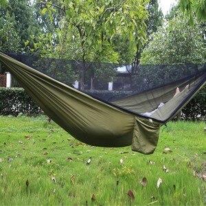 Image 2 - Easy Set Up Mosquito Net Hammock Double Hamak  290*140cm With Wind Rope Nails Hamac Hamaca Portable For Camping Travel Yard