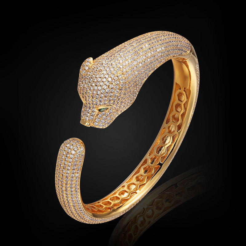 Statement leopard Bangles Brand Men Jewelry Dubai Gold Plated Zircon Bangles