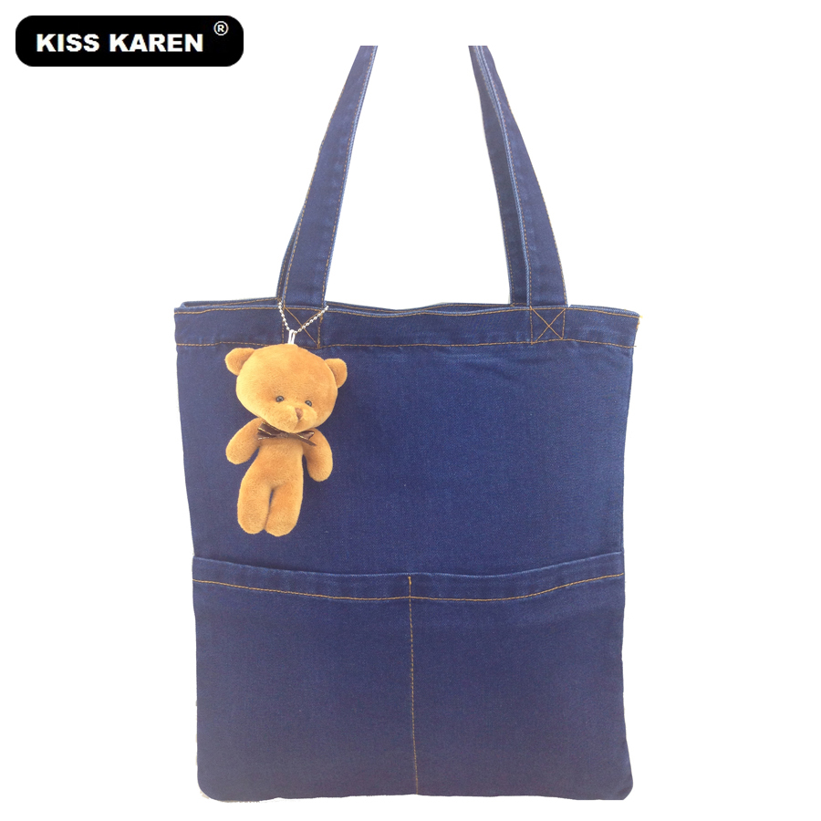KISS KAREN Trendy Style Lovely Bear/Dog Denim Beach Totes Women Shoulder Bags Jeans Tote Bag Girls Casual Shopping Bag karen white on folly beach