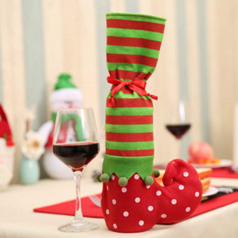Christmas Stockings Red Wine Bottle Cover Bags Christmas Banquet Dinner Table Decoration Home Decor New Year Party Supply 1PC