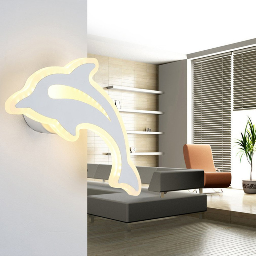 Unique Cute Dolphin-shaped Button Lamps Household 220V 17W Living Room Aisle Wall Lights Bedroom Decoration SconceUnique Cute Dolphin-shaped Button Lamps Household 220V 17W Living Room Aisle Wall Lights Bedroom Decoration Sconce