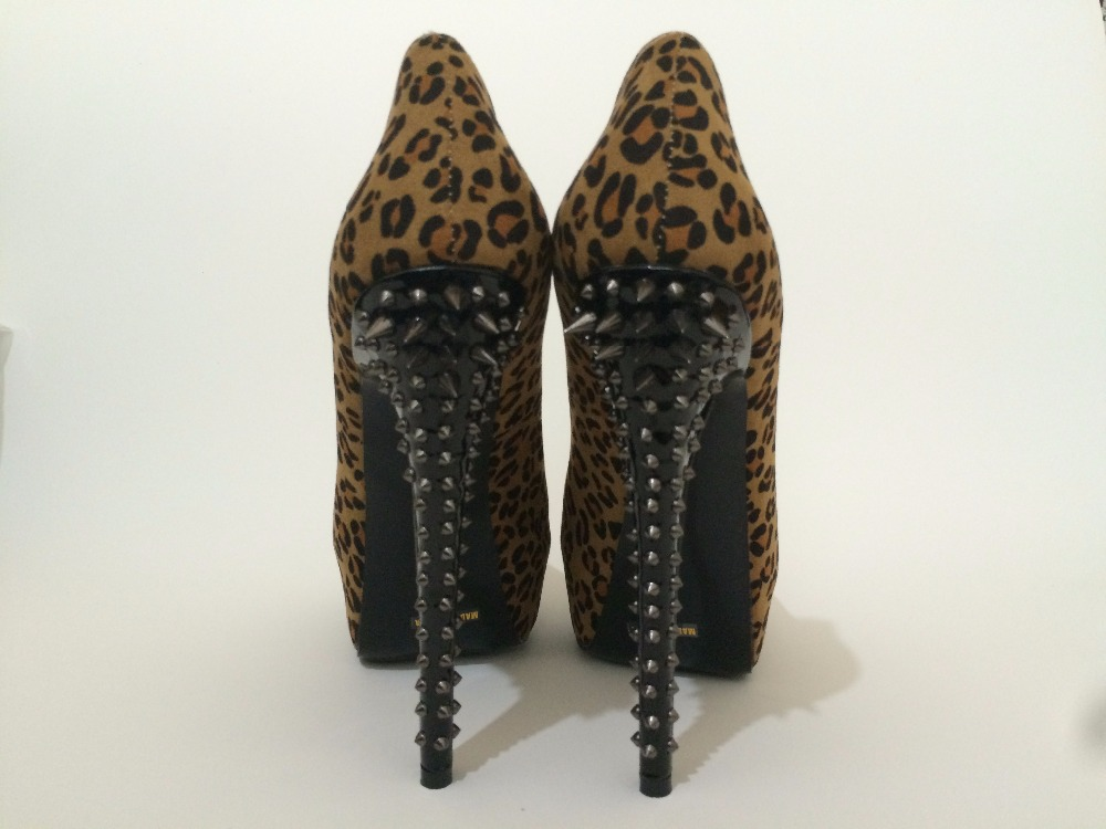 2017 frau sexy leopard zebra high heels spikes plattform slip auf - Damenschuhe - Foto 4