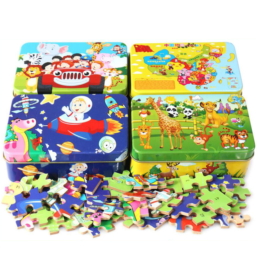 60 Pc Wooden Puzzle Kids Toy Cartoon Animal Wood Jigsaw Puzzles Child Early Educational Learning Toys For Christmas Gift 38-Type