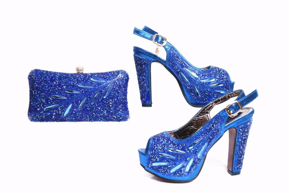 2017 high quality italian shoes and bag set whoelsale african high heel shoes and purse for ladies women