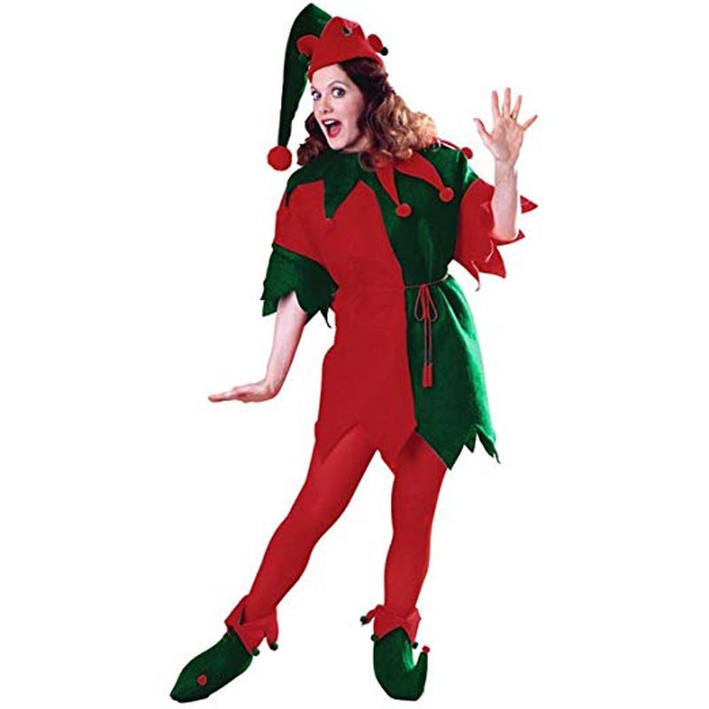 Adult Elf Tunic Womens Green & Red Elf Costume Women Halloween and Christmass Costume