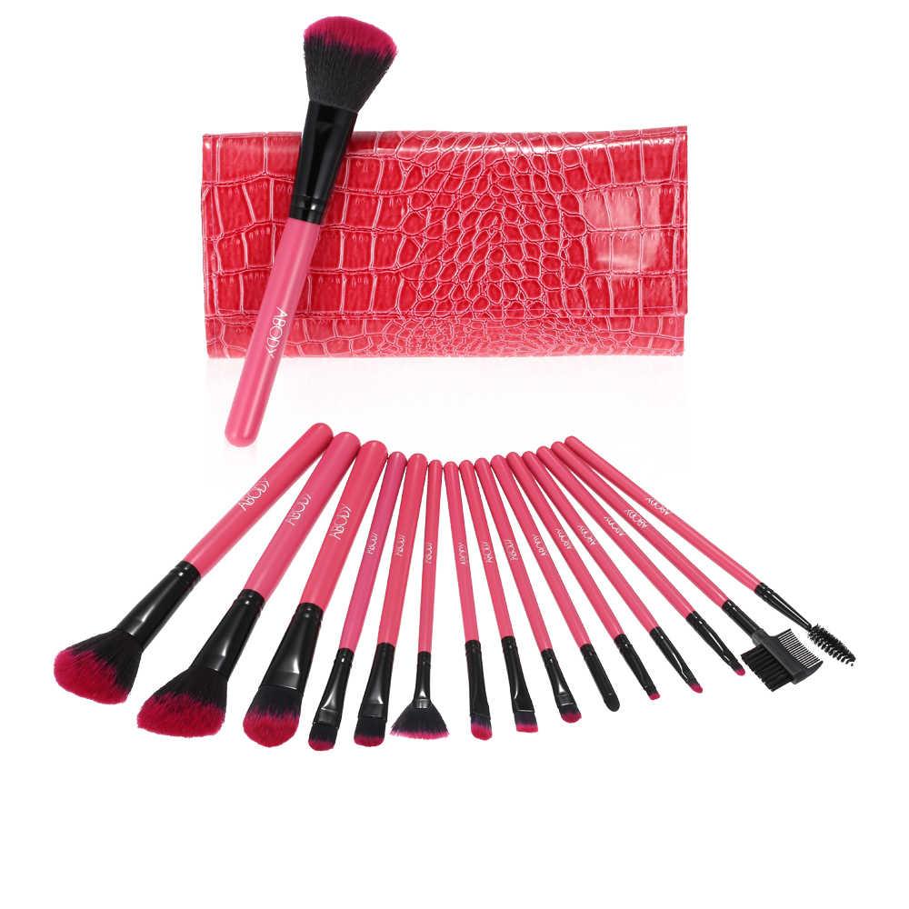 Abody Ferramenta Profissional 16 Pcs Pincéis de Maquiagem Kit de Maquiagem Cosméticos Fundação Sombra Em Pó Sobrancelha Lábio Escovas Com Saco Bolsa