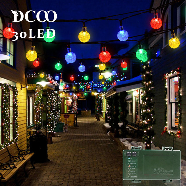 dcoo string lights battery operated timer 30 led bubble crystal ball holiday party lights globe light