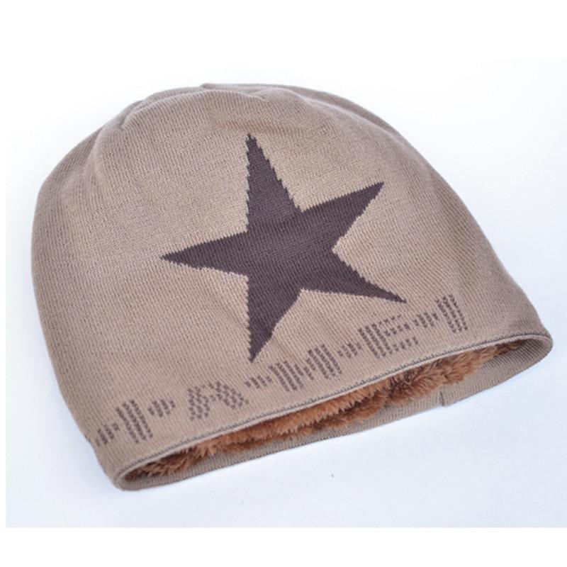 Módní zimní čepice pro ženy a muže čepice plus sametová pletená vlna teplá lebka čepice maska špičatá hvězda touca gorros bonnt