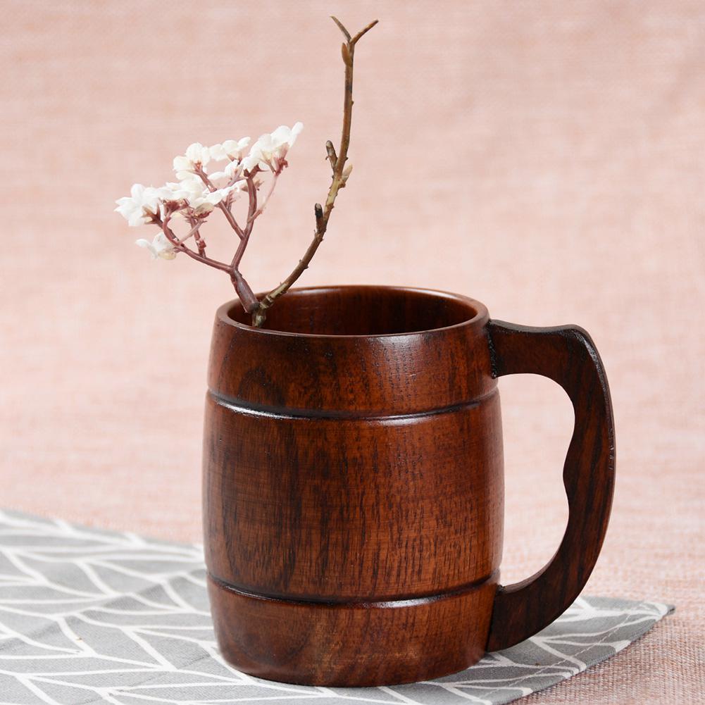 Yfashion Adeeing Элегантная с деревянной ручкой пивная чашка кофе чай сок молоко вино чашка Подарочное украшение