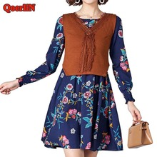 QoerliN Vintage two Pieces Set Knitted Vest Dress Suit Women 2018 Female Spring Summer Fashion Casual Short Dress Girl Plus Size