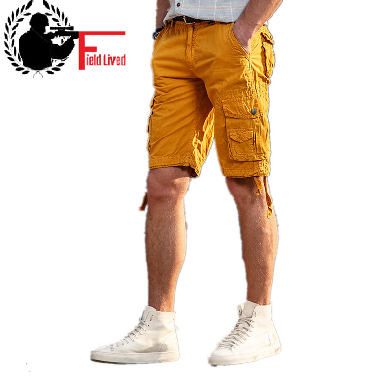 Cargo-Shorts Capri Multi-Pockets Bermuda Military Breeches-Work Army-Style Male Cotton