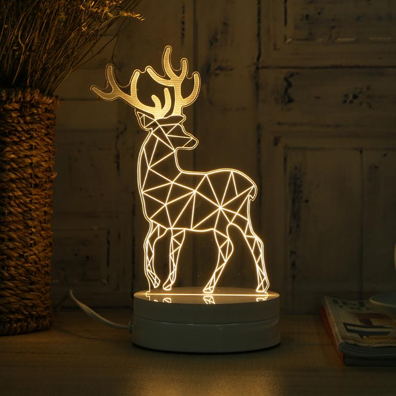3D Deer Lamp Table Desk Lamp 5W 110V-260V 1.5m Stereoscopic Flash Night Light With Button Switch Brand New