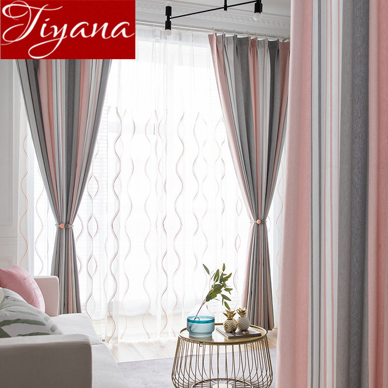 Nordic Style Yellow Stripe Curtain For Living Room Grey