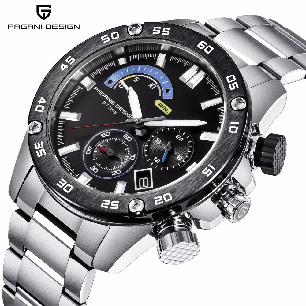 PAGANI DESIGN Top Brand Luxury Men Watches Chronograph Quartz Wristwatches Mens Full Steel Waterproof Sport Watch reloj hombre mens watches top brand luxury pagani design genuine leather quartz watch men outdoor sport chronograph reloj hombre wrist watch