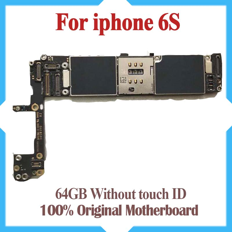 64GB For iPhone 6s Motherboard without Touch ID Original unlocked for iphone 6s Mainboard 100 Good