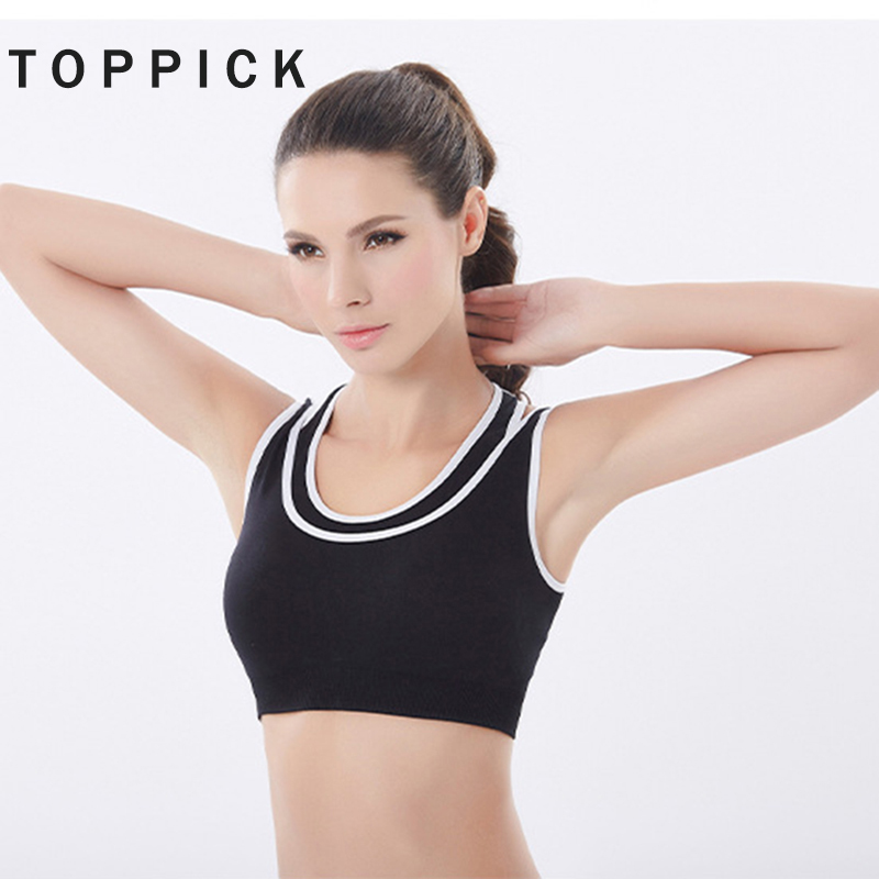 78ec9a44806aa Fitness Women Sport Bra Top False Two Pieces Sports Bra High Impact 2018 Push  Up Gym Top Running Brassiere Sport Yoga Sports Bra-in Sports Bras from  Sports ...