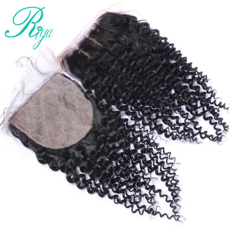 Riya Hair brésilien crépus bouclés fermeture de Base en soie fermeture supérieure en soie avec des cheveux de bébé noeuds cachés fermeture de cheveux humains partie moyenne
