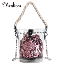 Mealivos Handbags Clear PVC Bags with sequins Beach jelly bag Solid Chain Women Bucket Bags Females Handbags Composite Bag cajifuco transparent women tote shoulder bag jelly composite handbags solid casual purse beach bags clear chain bag femme