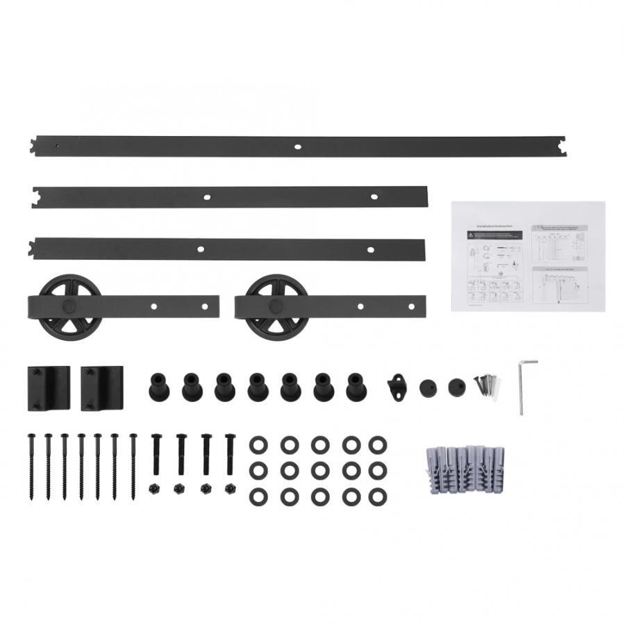 Kit de Rail de voie de rouleau de matériel de porte de grange coulissante de 8FT réglé pour des garnitures de porte coulissante d'armoire de placard