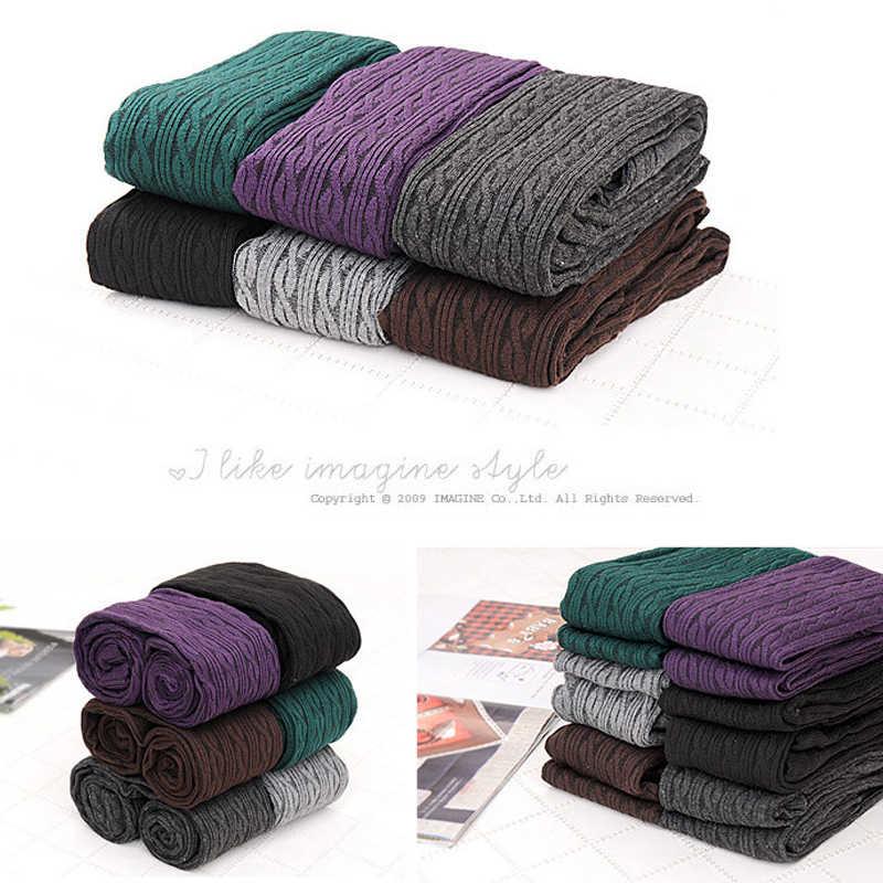 Di modo Delle Donne Calzamaglia di Inverno del Knit Collant Collant Caldo Calze di Cotone Poliestere di Colore Solido Caldo Stretto Per La Femmina