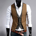 Vest Male 2017 Fashion Men's Sleeveless Shirt False Two Pieces Waistcoat V-Neck Style Design Vest Slim Fit for Men Boys