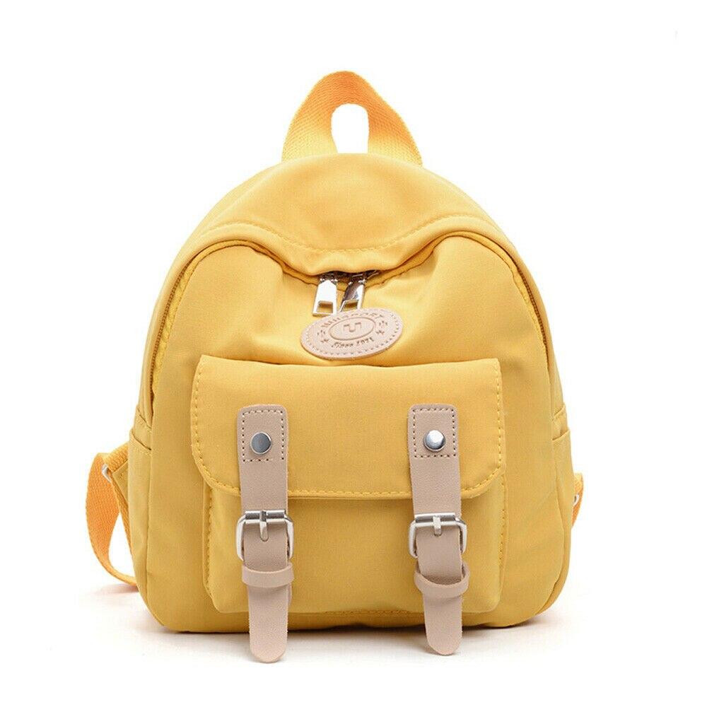 Casual Fashion Baby Children Boy Girl Backpack Simple Solid Color Nylon School Bag Shoulder Bag
