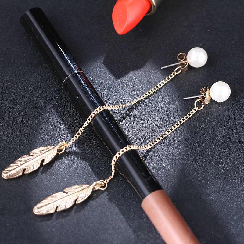 EK287 feuille Imitation perle longue gland boucles d'oreilles pour femmes bijoux de mariage Vintage mode élégant amant plume Brincos