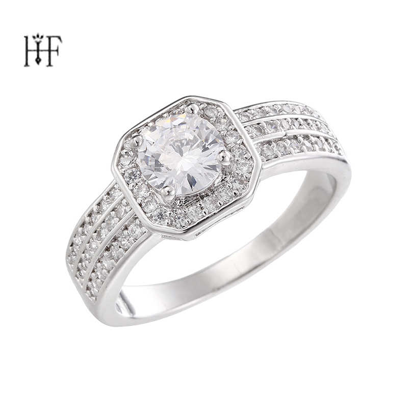 Silver Color Rings Plus Big Cubic Zirconia For Women bijuteria feminina Women Wedding Ring Engagement Jewelry Never Fade