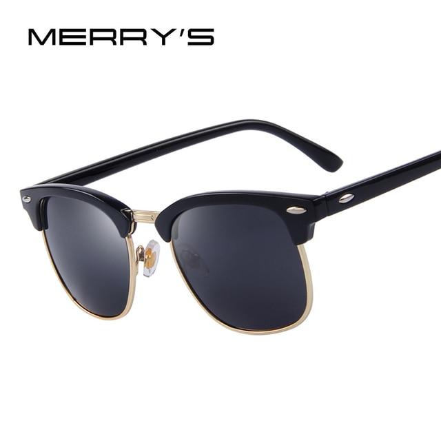 MERRY S Homens Retro Rebite Óculos Polarizados Clássico Marca Designer  Unisex Polaroid Óculos De Sol UV400 724ad05917
