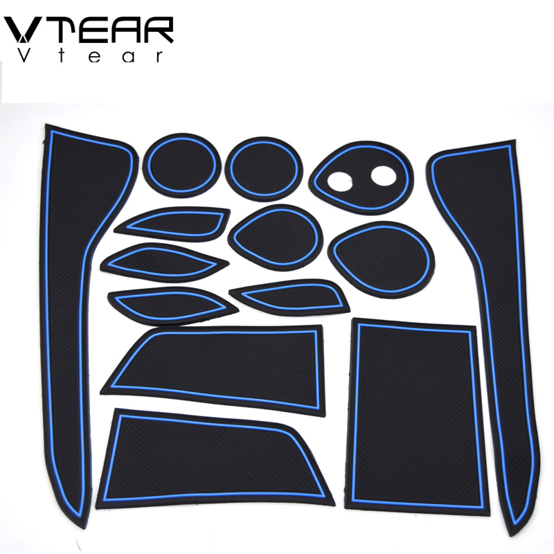 Vtear For Toyota C-HR CHR styling accessories Gate slot pad rubber mat door mat anti-slip Cup pad Interior decoration 2017-2019