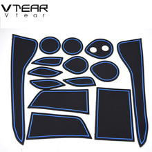 Vtear For Toyota C-HR CHR 2016 2017 accessories door mat Gate slot pad anti-slip Cup pad rubber mats Interior decoration cover