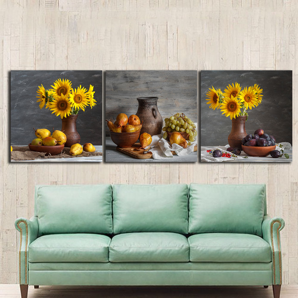 Art Décor: 3 PCS Still Life Sunflowers Paintings For The Kitchen