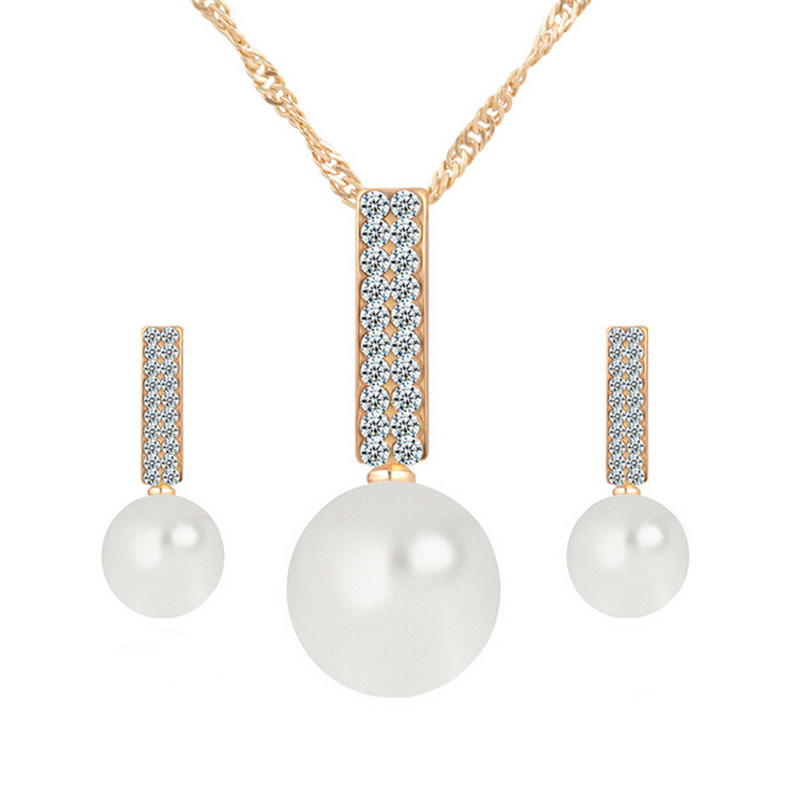 Diomedes New Fashion Fashion 1 Word Pearl Pendant Necklace +Earrings #30 Gift