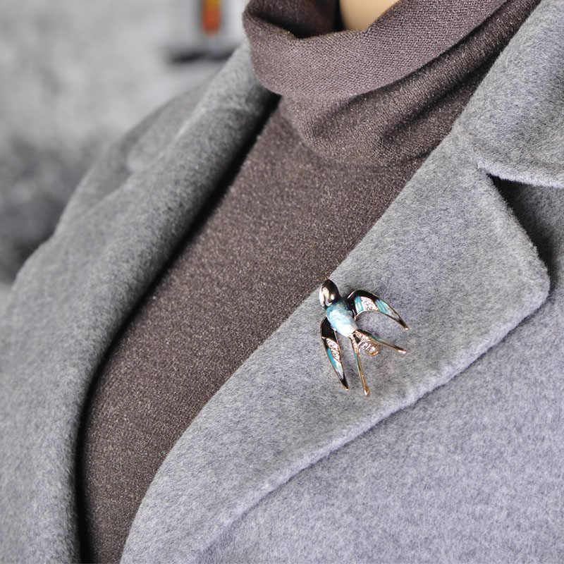 Blucome Hidup Menelan Bentuk Bros Pin Hitam Biru Enamel Warna Emas Logam Pin Syal Wanita Anak Perapi Pakaian Aksesoris Perhiasan